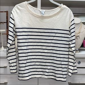 Forever 21 off white and navy striped top